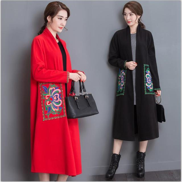 Bordado mujeres abrigo de invierno 2016 abrigos de lana larga floja recta gabardinas cardigan estilo chino túnicas vintage clothing