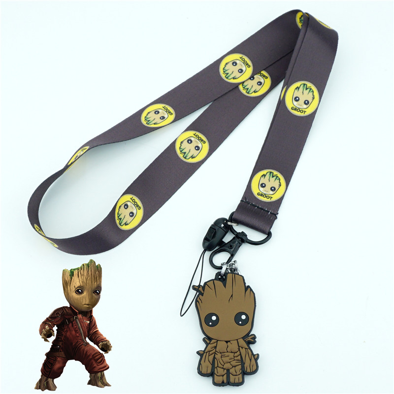 Guardians Of The Galaxy Groot Neck Strap Lanyards Cell Phone Rope Strap Clip Charm Cords Lariat Keychain Pendant Cosplay Gifts