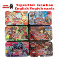 yugioh card 41 pcs/lot Iron Box Package Y901 Duelist Advent  English version play game kid toys for children gold yugioh cards