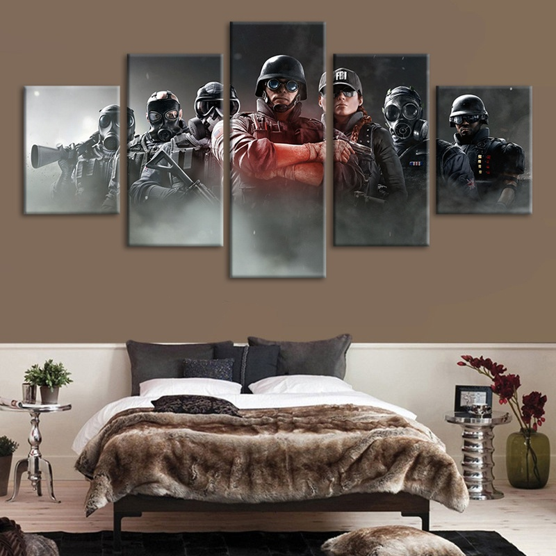 5 Piece Tom Clancy's Rainbow Six Siege Video Game Poster Canvas Art Oil Painting for Living Room Wall Decor 2