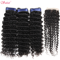 Satai Deep Wave 3 Bundles With Closure Peruvian Hair Bundles 100% Human Hair Bundles With Closure Natural Color Non Remy Hair