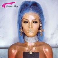 Carina Remy preprucked светло голубые 100 человеческие волосы парики на кружеве настоящие волосы цветные короткие Боб 13x6 парики на кружеве для женщин