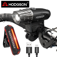 HODGSON USB Rechargeable Bike Light LED Waterproof Front Light Tail Light Set Bicycle Headlight Taillight Rear