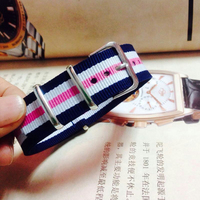 Hot Wholesale Casual New Watchband Men Women Stripes Cambo Nylon Watches White Pink Straps Wristwatch Band Buckle 20mm Belts