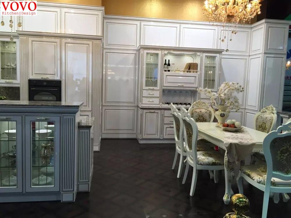 Glossy white European kitchen cabinets-in Kitchen Cabinets ...