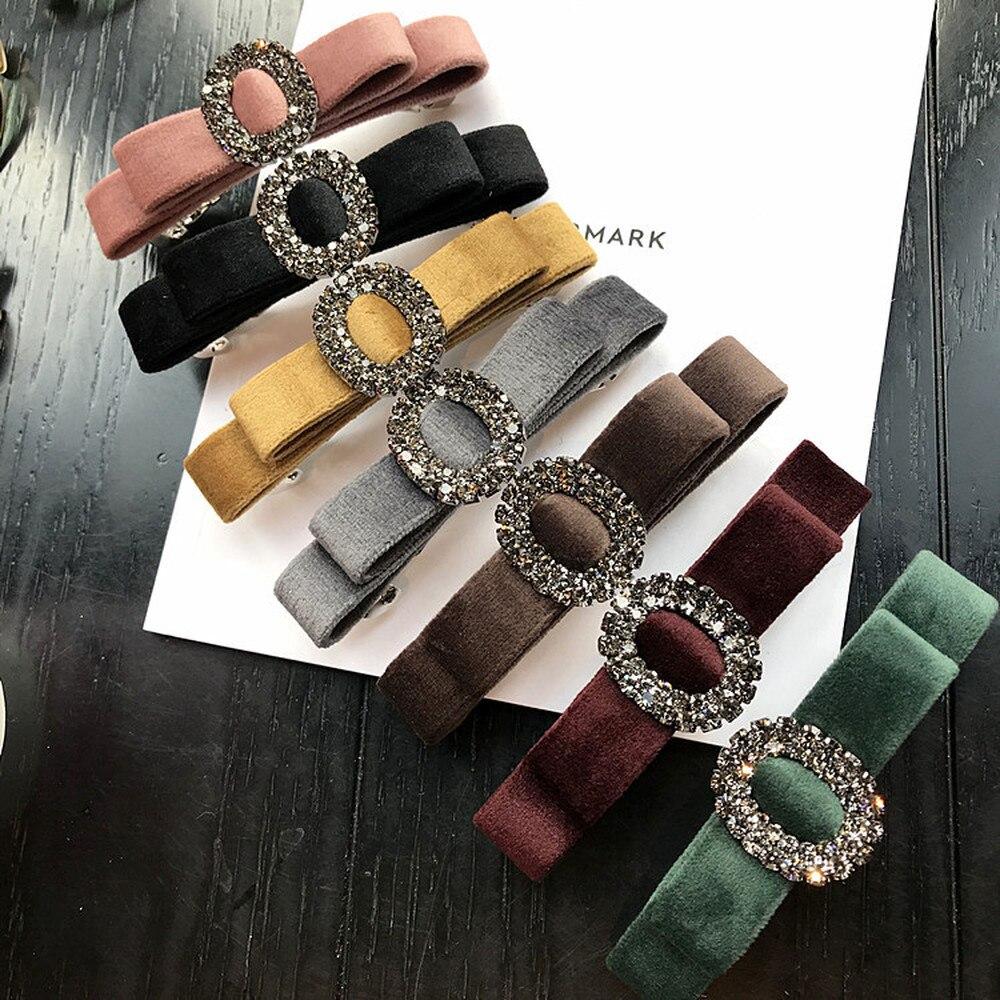 Korean Simple Fabric Velvet Bow Tie Circles Rhinestone Barrettes Hair clips Pins For Women Fashion   Headwear   Hair Accessories