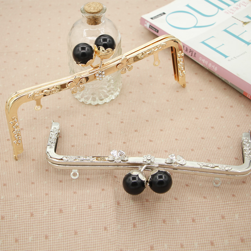 23.5cm Purse Frame Metal Bag Handle Frame Flower Surface with Pearl Big Ball Color Purse Frame Wholesale Bag Frame Accessories