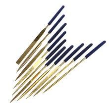 10Pcs Titanium Diamond Coating Needle Flat File Set Metal Working Craft Tools extra sand titanium knife flat oval oblique rasp file suit shaping metal abrasives