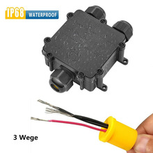 цена на Outdoor External Junction Box 3 Way Plastic Waterproof Electrical Junction Box Cable Wire Connector IP68 Distribution Case