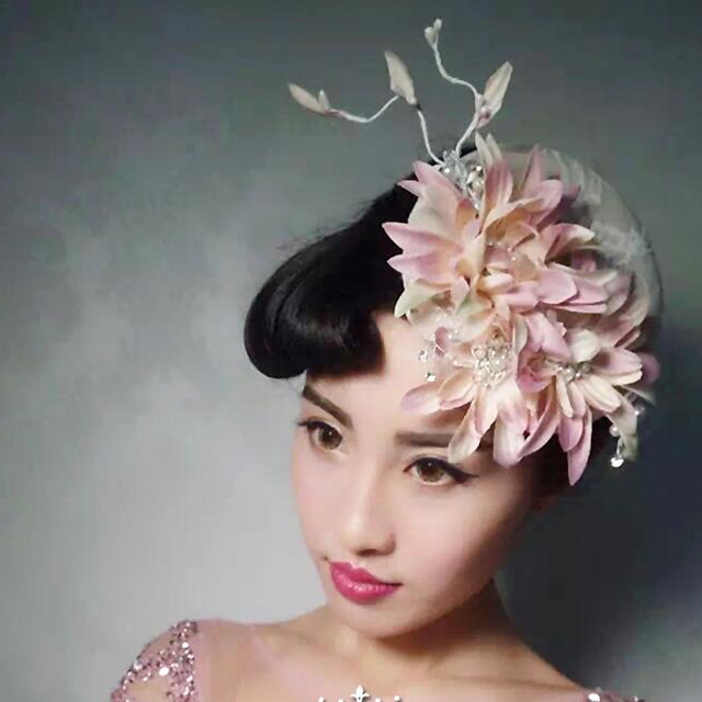 European Lady Flower Feather Sinamay Hat Wedding Fascinator Hairband Hair Accessories Women Headwear For Wedding Cocktail Party