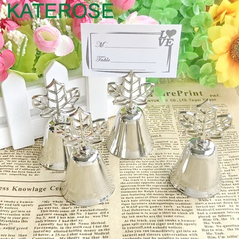 80PCS Silver Fall Leaf Kissing Bell Table Place Card Holder Wedding Bridal Shower Favors