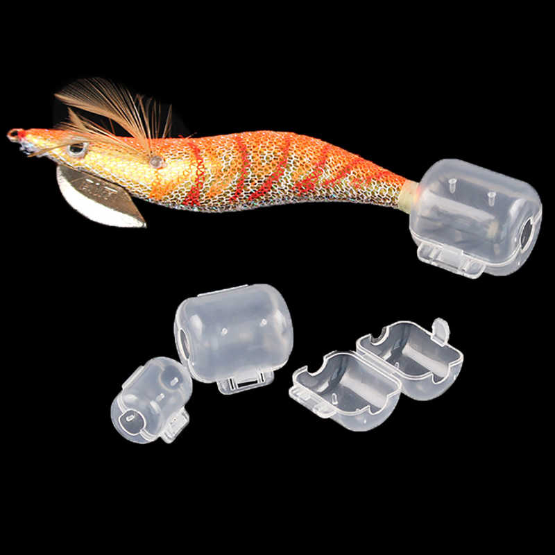 10pcs / lot Fishing Tackle Wood Shrimp Jig Squid Hooks Cap Umbrella Hook Hat Field Protector Size S M L