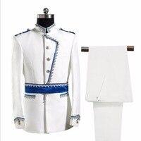 S XXL Men suit white prince performance clothes host singer stage costumes Groomsmen Groom Tuxedo fomal suit set singer costumes