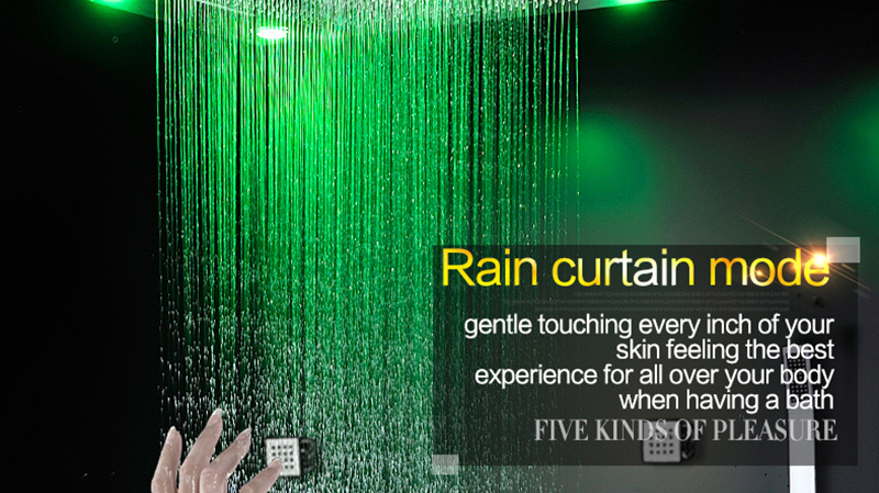 Bathroom Fixture Shower Faucets Ceiling Mounted Waterfall Mist Shower Head Big Rain LED Shower Set High Flow Thermostatic Bath (19)