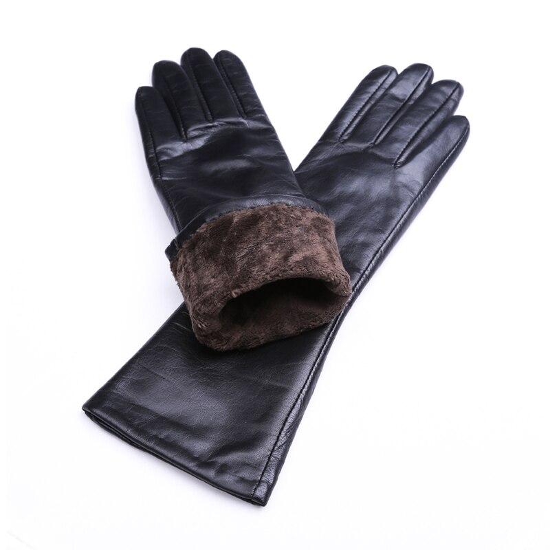 Femmes mi-longueur réel doux style plaine gants en cuir véritable en noir
