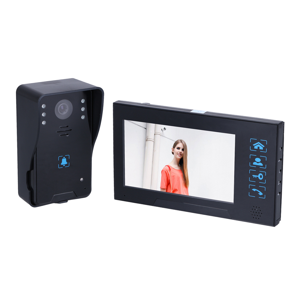 AC100V-240V 7 inch Screen 16:9 HD Villa Button Wired Video Doorphone Infrared Night Vision Home Security Doorbell System 7 inch video doorbell tft lcd hd screen wired video doorphone for villa one monitor with one metal outdoor unit rfid card panel