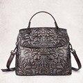 Women Vintage Embossed Leather Tote Handbag Genuine Leather Ladies Messenger Casual Bag Luxury Brand Cross Body Shoulder Bags