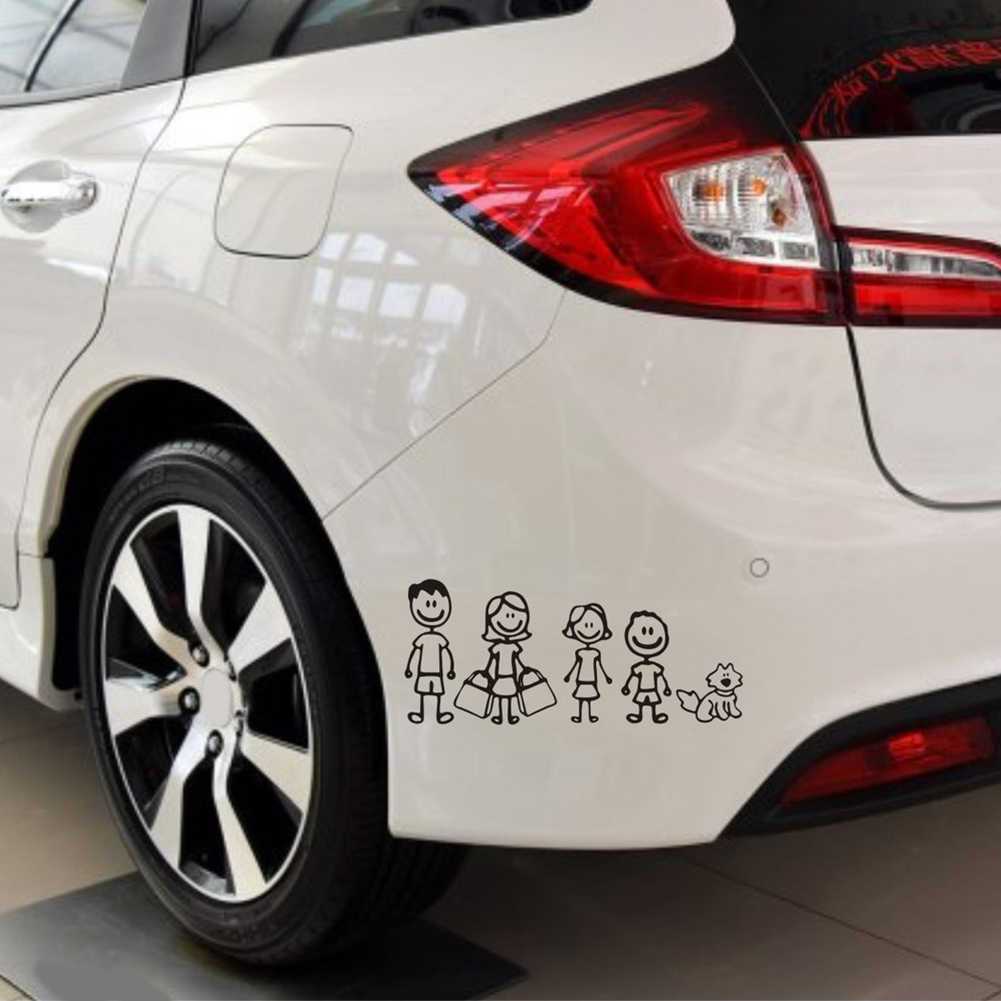 New Funny Family Figure Dad Mom Daughter Son And Pet Dog Auto Decal Car Stickers