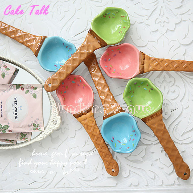 Cerámica cuchara de helado cuchara de postre de la galleta de 1 unidades 15 cm creativo scoop decoración para la fiesta de la cena de la boda