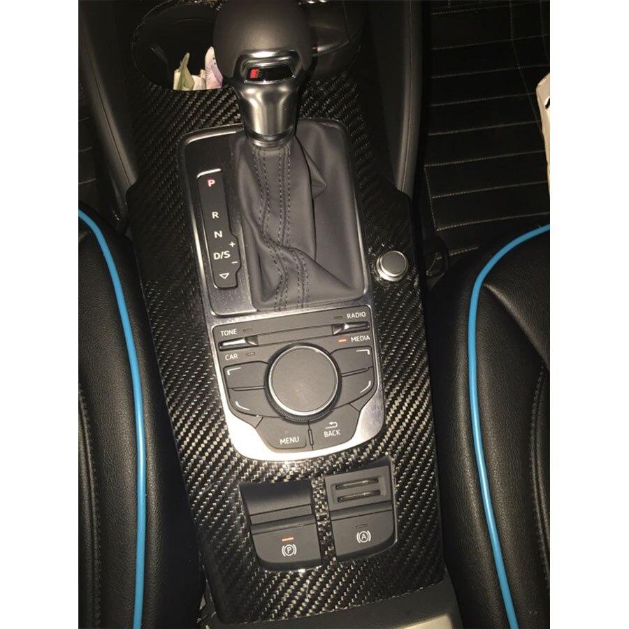 Panneaux de commande de pièces de décoration de garnitures intérieures de Fiber de carbone (sans trou de démarrage de moteur) pour Audi A3 S3 2014up 10 pièces/ensemble LHD seulement