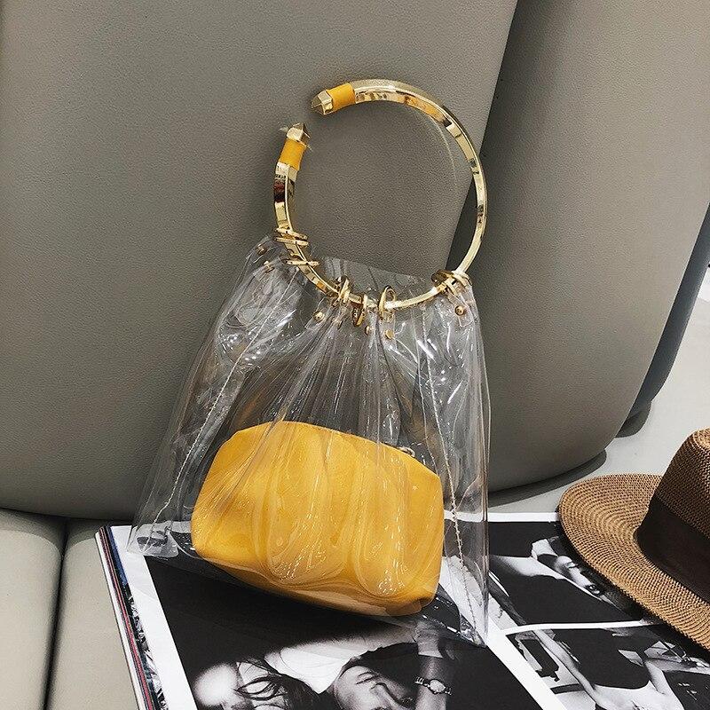 Summer Transparent Jelly Bag Tote Crossbody Bags Women 2019 PVC Luxury Handbags Designer Ladies Handbag Beach Clear Shoulder Bag in Shoulder Bags from Luggage Bags