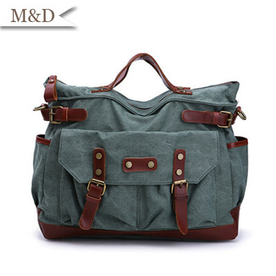 Occidental Genuine Leather Bag Vintage Canvas British Style Men Bag Shoulder Bag Messenger Bag