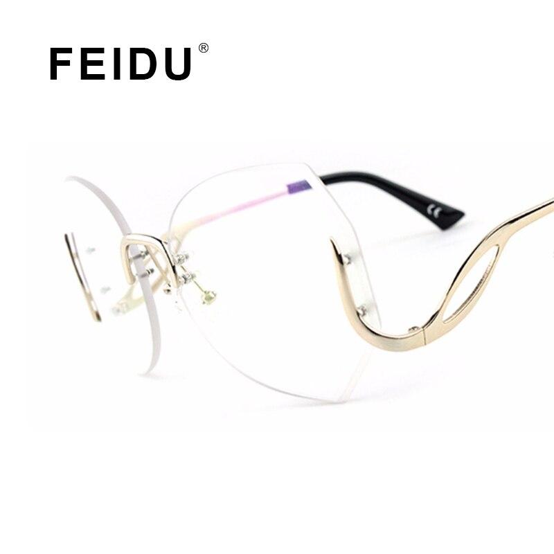 Feidu 2016 moda mujeres de gran tamaño gafas de sol sin montura de ...