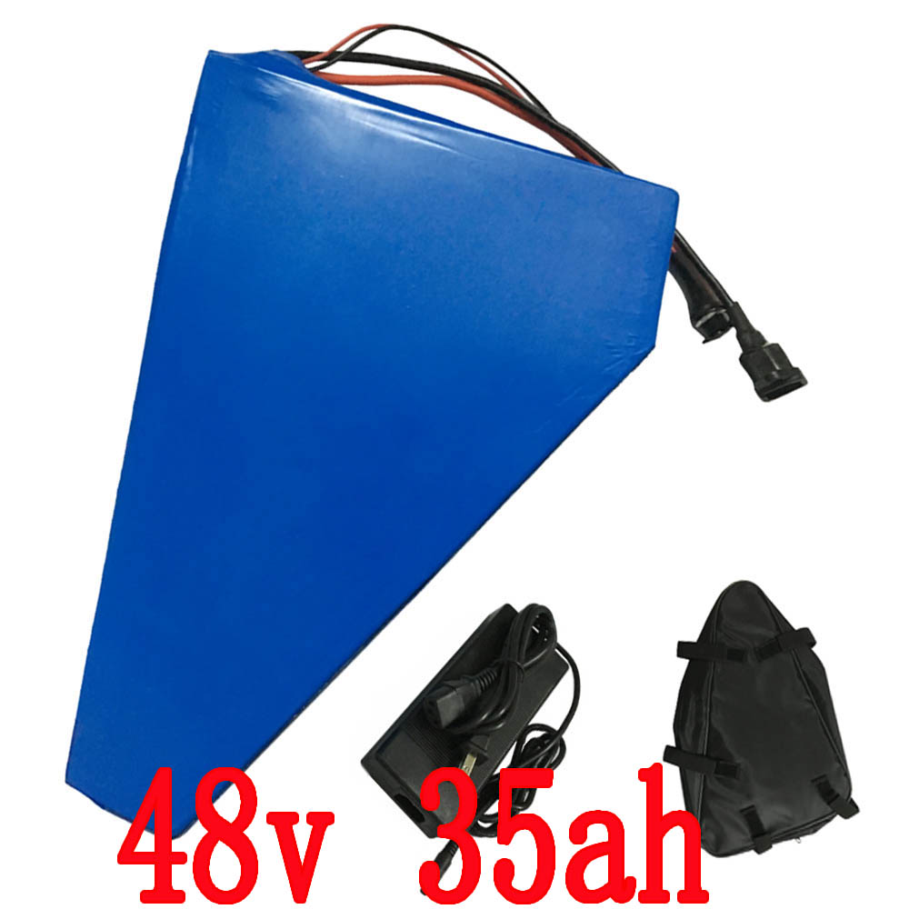 2000W 48V 35AH triangle battery 48V Lithium ion battery for Electric bike Use for Sanyo  3500mah  Cell 50A BMS 5A Charger free customes taxes 48v 2000w electric bike battery 48v 35ah lithium ion battery pack for electric bike with charger bms