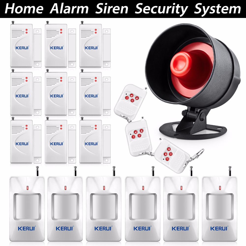 ФОТО KERUI House Office Security Alarm System Simplest Design Wireless Home Alarm System 433MHz alarm system Big Horn Loudly Speaker