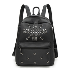 Fashion High Quality PU Leather Women Travel Backpack School Backpack Black Rivet Women Teenager Shoulder Bag Mochila