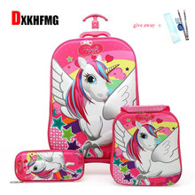 2018 Unisex Trolley Case Wheeled Rolling Bag 3D Children Travel Suitcase Trolley School Backpack Kid's Trolley Bags with Wheels цена