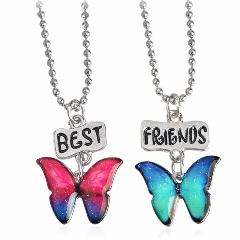 Цинковый сплав моды Эмаль Письмо ювелирные изделия для маленьких девочек бабочка BFF Цепочки и ожерелья 2 предмета Комплект эмаль кулон Цепочки и ожерелья s челнока
