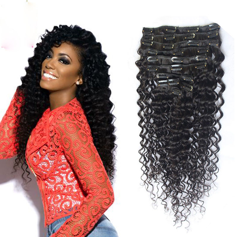 Full Shine Peruvian Deep Wave Clip in Human Hair Extensions African American Clip in Virgin Hair Extensions 7Pcs Free Shipping