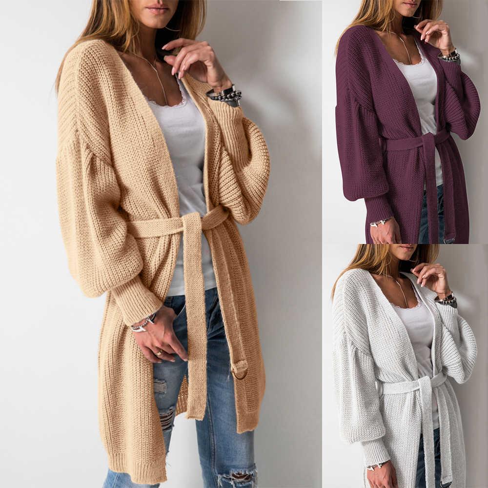 Для женщин зимние Открыть стежка Одежда с длинным рукавом Вязание кардиган пальто с поясом Повседневное Свободные пиджаки Серый FS0600
