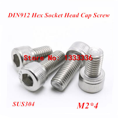 500pcs M2*4 Hex socket head cap screw, DIN912 304 stainless steel Hexagon Allen cylinder bolt, cup screws