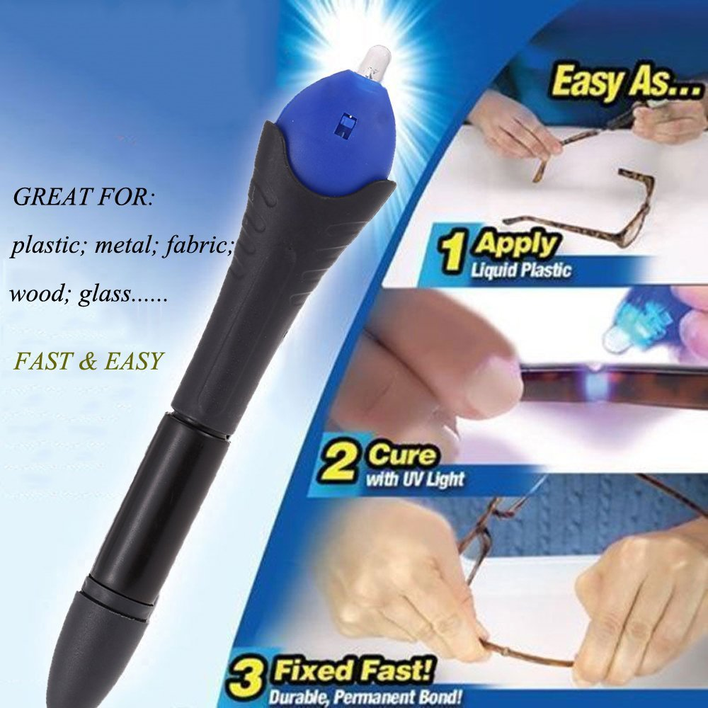 5 Second Fix UV Light Repair Glue Tool Pen Dip Welding Compound Kit Super Powered Liquid Plastic Welding Compound