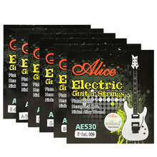 6 Pieces/Set ALICE AE530-SL Electric Guitar Strings 1st-6th Super Light .009-.042 Nickel Alloy Wound Full Set Hexagonal Core 6 pieces set alice electric guitar strings steel core plated steel coated nickel alloy wound guitar parts strings super light