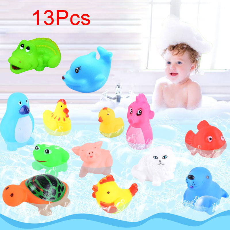 13Pcs Bathtub Toys Mixed Squeeze Squeaky Animals Colorful Soft Rubber Bathing Float Toys ...
