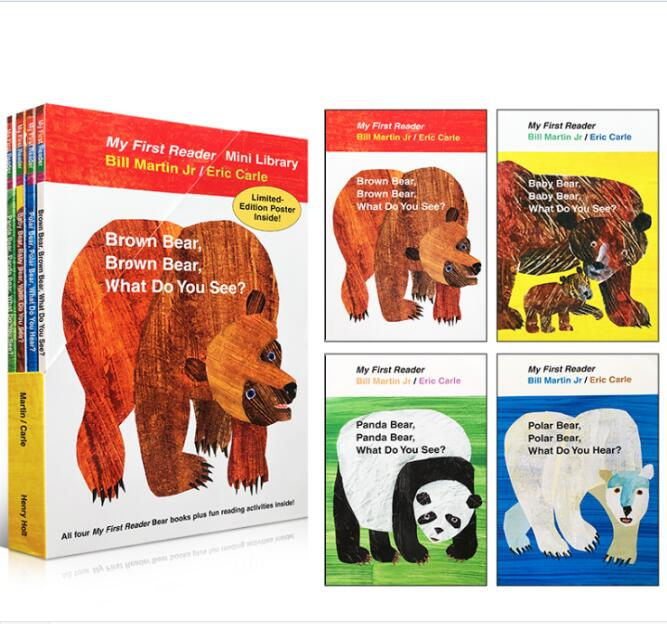 4pcs English Learn Books For Children My First Reader Mini Library:Brown Bear,panda,baby,polar Bear,What Do You See?Eric Carle