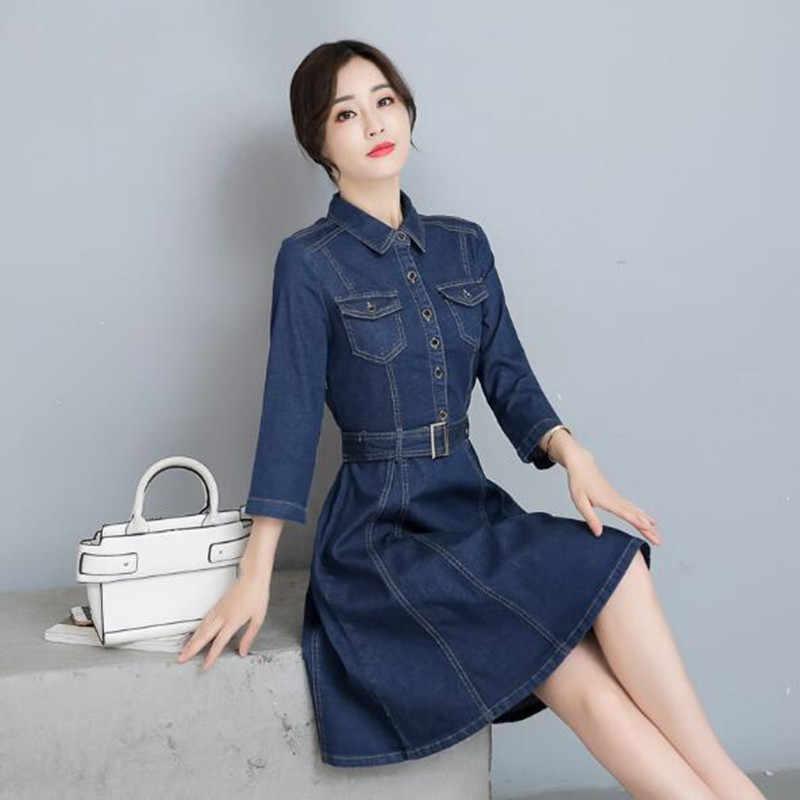 Элегантные джинсовые платья женские 2019 осенние трапециевидные с высокой талией тонкие Модные Винтажные пояс джинсовое платье женские большие размеры QV480