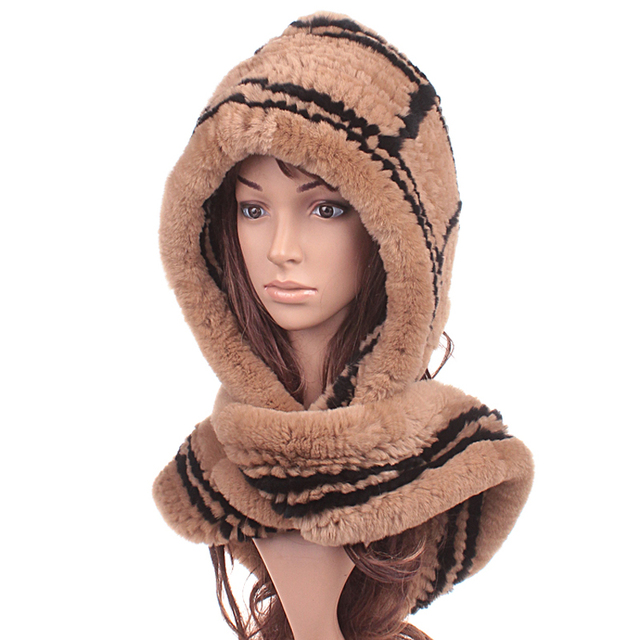 Fashion Hats Warm Winter Rex Rabbit  Fur Hat Pattern Korean Version Warm Thick Dual-Use Encryption Scarves Hats