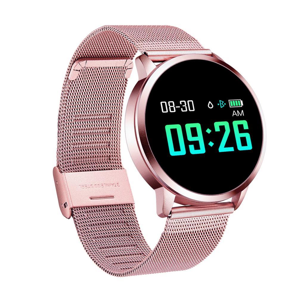 Q8 relógio inteligente tela colorida smartwatch moda feminina relógio inteligente rastreador de fitness monitor de freqüência cardíaca masculino relógio inteligente pk b57 banda