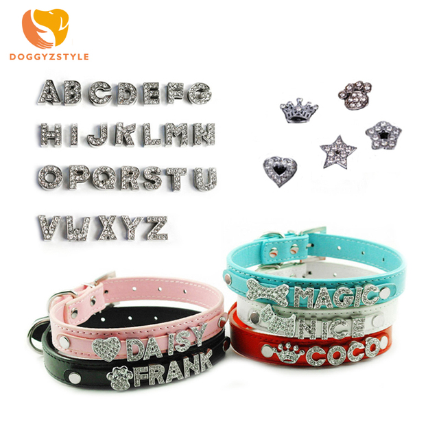 a5e1a5629b 5 Colors DIY Name Dog Collars Leather Personalized Pet Cat Collars with  Rhinestone Letters Puppy Collar Size XS L DOGGYZSTYLE-in Collars from Home  & ...