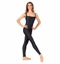 Icostumes Womens Tank Neck Long Sleeve Spandex Dance Ballet Jazz Unitard Footless Zentai Bodysuit