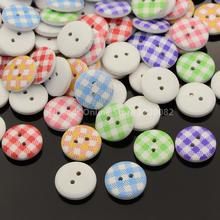 2-Hole Flat Round Tartan Pattern Printed Wooden Sewing Buttons, Dyed, Mixed Color, 15x4mm, Hole: 1mm