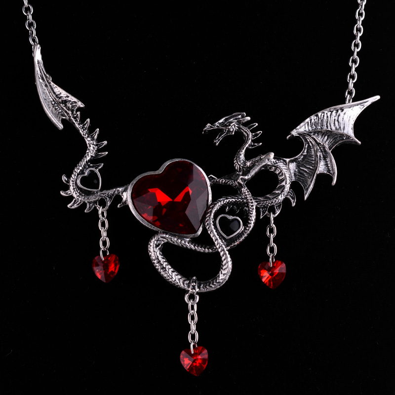 2017 Vintage Jewelry Dragon Crystal Heart Necklace Red Stone Personality Accessories Chokers Necklaces For Women Halloween Gift
