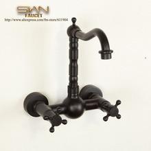 Oil Rubbed Bronze ORB Black Wall Mount  Kitchen Faucet Mixer Tap Dual Handle Swivel Spout 22A0571