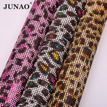 JUNAO 24*40cm Leopard Hotfix Glass Rhinestone Mesh Fabric Sheet Crystal Ribbon Trim Diamond Strass Applique For Clothes Crafts(China)