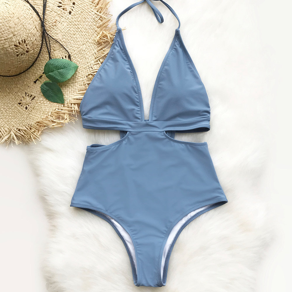 Cupshe City Of Sky Halter One-piece Swimsuit V Neck Summer Sexy Bikini Set Ladies Beach Bathing Suit Swimwear cupshe point me at the sky cross bikini set women summer sexy swimsuit ladies beach bathing suit swimwear