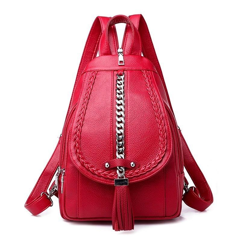 2019 Backpacks For Girls Mochilas Women Leather Backpacks Female Back Pack Preppy Style Large Capacity Travel Solid Rucksacks